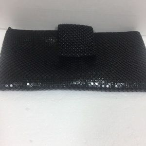 Black Beaded Clutch. With Chain.